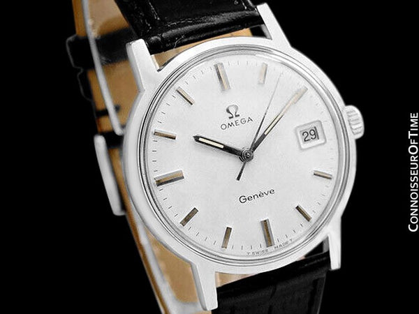 1970 Omega Geneve Vintage Mens Handwound Watch with Quick-Setting Date - Stainless Steel