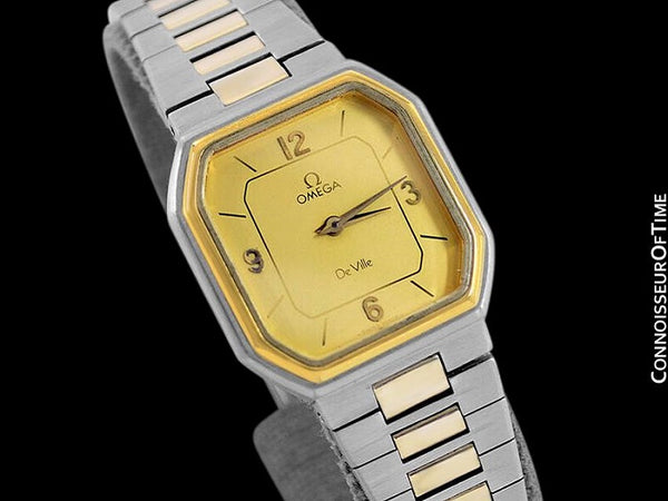 1982 Omega De Ville Vintage Ladies Dress Quartz Watch - 18K Gold Plated & Stainless Steel