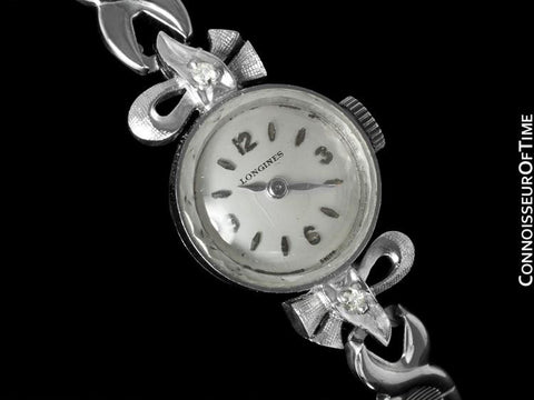 1961 Longines Vintage Ladies Dress Watch- 14K White Gold & Diamonds