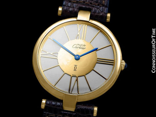 Must De Cartier Vendome Mens Midsize Unisex Vermeil 18K Gold Over Sterling Silver Watch - Boxes & Papers