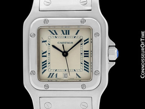 Cartier Santos Galbee Mens Midsize Unisex Stainless Steel Watch with Date - Papers