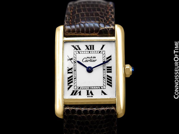 Cartier Vintage Ladies Tank Quartz Watch - Gold Vermeil, 18K Gold over Sterling Silver