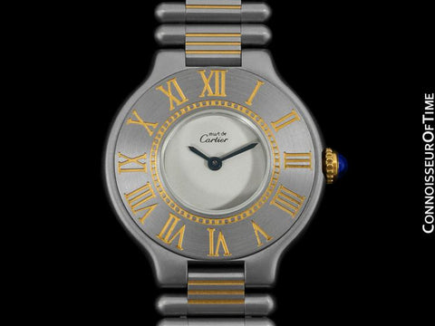 Cartier Must De 21C Mens Midsize Unisex Watch - Stainless Steel and 18K Gold