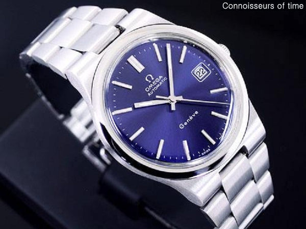 1973 Omega Geneve Vintage Mens Automatic Bracelet Watch, Quick-Setting Date - Stainless Steel