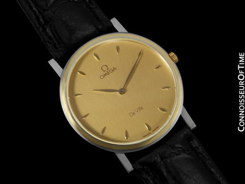Omega DeVille Mens Midsize Dress Watch - Solid 18K Gold Inlay & Stainless Steel