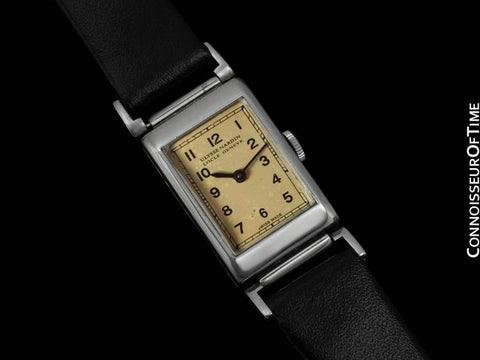 1930's Ulysse Nardin Mens Vintage Rectangular Dress Watch - Staybrite Stainless Steel