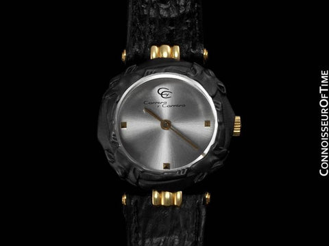 Carrera y Carrera Ladies Leopard Quartz Watch - 18K Gold & Sculptured Titanium