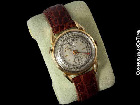 1950's Bucherer Vintage Mens Triple Date Calendar Watch - 18K Gold