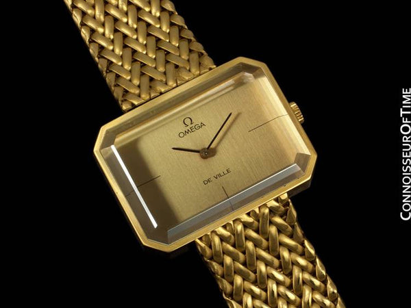 "1973 Omega De Ville Mens Midsize ""Emerald"" Modern Watch By Andrew Grima - 18K Gold Plated & Stainless Steel"
