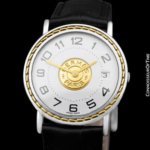 Hermes Sellier Mens Midsize Unisex Watch - Stainless Steel & 18K Gold