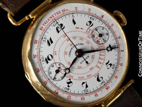 1920's Swiss Vintage Large Mens Sporting / Aviator's Single Button Chronograph - 18K Gold