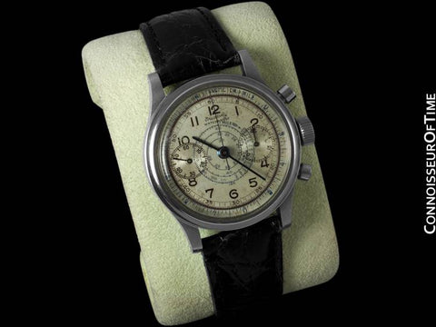 "1930's Breitling Vintage ""Clamshell"" - World's First Waterproof Chronograph - Stainless Steel"