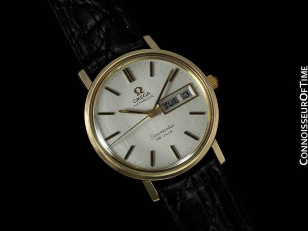 c. 1976 Omega Seamster DeVille Mens Watch, Automatic, Quick-Set Day & Date - 14K Gold Filled