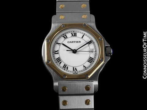 Cartier Santos Octagon Mens Midsize Watch - Stainless Steel & 18K Gold