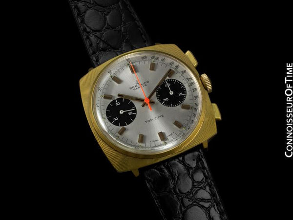 1969 Breitling Top Time Vintage Large Pilots Panda Dial Chronograph - 14K Gold Filled & Stainless Steel