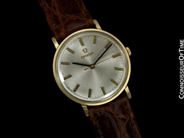 1973 Omega Vintage Mens Dress Watch, Technical Dial, IBM Presentation - 14K Gold