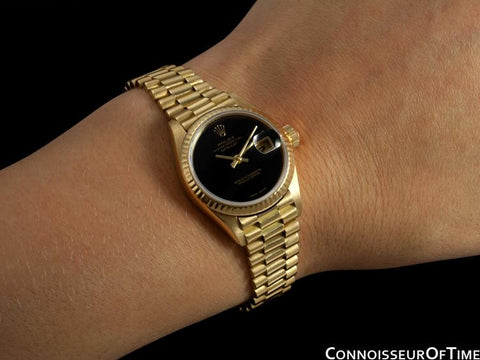Rolex Ladies President Datejust, 69178 - 18K Gold & Rolex Factory Onyx Dial