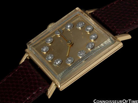 1950's Jaeger-LeCoultre Vintage Mens Square Watch with Two Dials - 18K Gold & Diamonds
