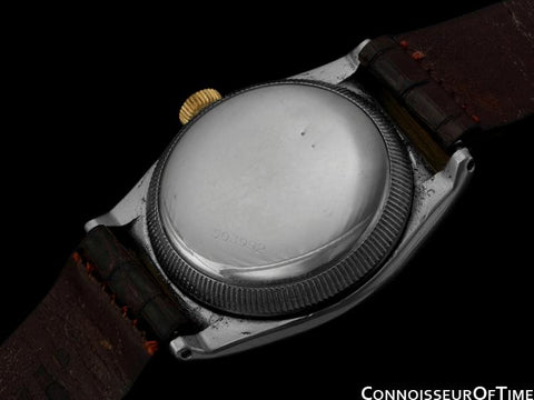 1948 Rolex Vintage Oyster Perpetual Bubbleback, 14K Gold & Stainless Steel - Rare Hooded Model