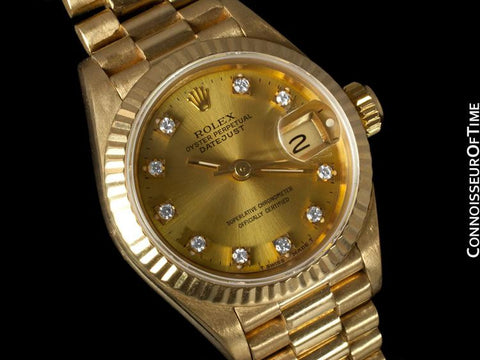 Rolex Ladies President Datejust, 69178 - 18K Gold & Rolex Factory Diamond Dial