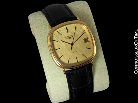 Longines Mens Full Size Dress Watch with Date - 18K Gold Plated & Stainless Steel