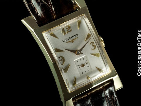 1955 Longines Vintage Mens Watch, 14K Gold - Pointed Hourglass