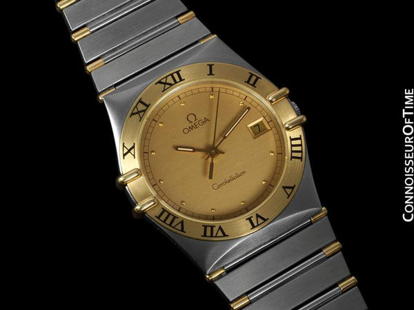 Omega Constellation Mens Watch, Quartz, Date, 35mm - Brushed Stainless Steel & 18K Gold