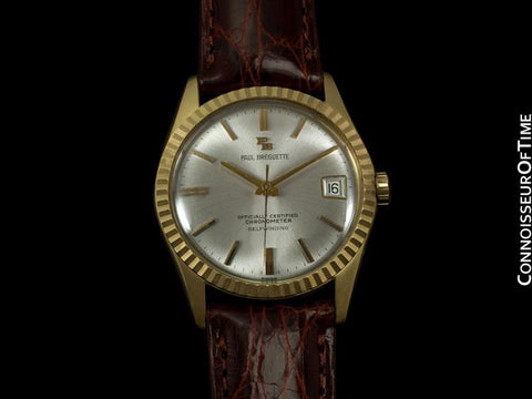 1960's Paul Breguette / Ebel Vintage Mens Rolex Datejust Style Chronometer - 14K Gold