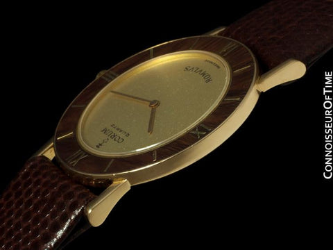 Corum Romvlvs Romulus Mens Midsize Dress Watch - 18K Gold with Wood Bezel