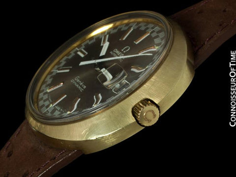 Omega Dynamic Vintage Mens Watch with Racing Dial, Automatic, Date - Gold Plated & Stainless Steel