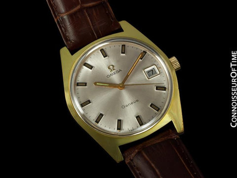 1970 Omega Geneve Vintage Tropical Mens Watch, Date - Gold Plated & Stainless Steel