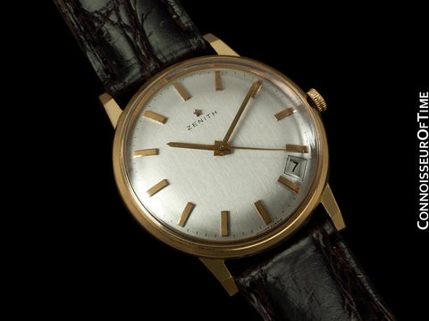 1960's Zenith Vintage Mens Waterproof Style Watch with Date - 18K Rose Gold