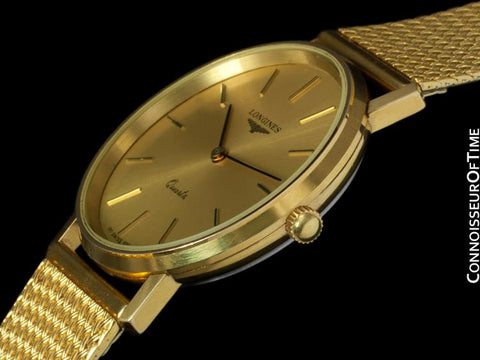 Longines Mens Dress Watch - 18K Gold Plated & Stainless Steel