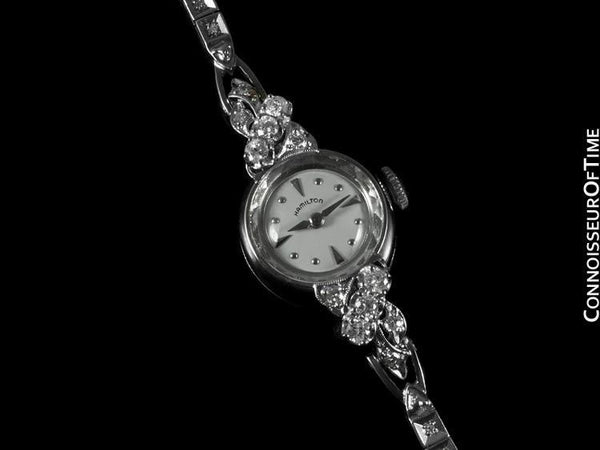1960's Vintage Ladies Hamilton Watch - 14K White Gold & Diamonds