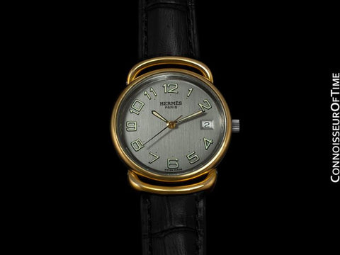 Hermes Large Ladies / Mens Midsize Pullman Watch with Date - 18K Gold Plated & Stainless Steel