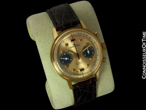 1960's Wakmann (Breitling) Vintage Pilot's Large Waterproof Chronograph - 18K Gold Plated & Stainless Steel