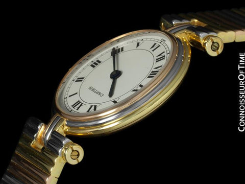 Cartier Vendome Ladies Trinity Watch - Solid 18K Yellow, White, & Rose Gold