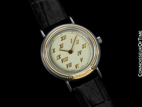 Hermes Meteore Ladies Watch - Stainless Steel & Solid 18K Gold
