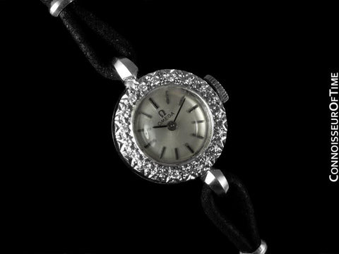 1969 Omega Vintage Ladies Watch - 14K White Gold & Diamonds