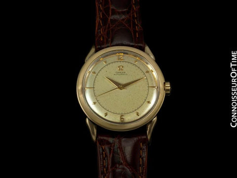 1950 Omega Vintage Mens Watch with Bumper Automatic, Waterproof Style - 14K Gold Shell & Stainless Steel