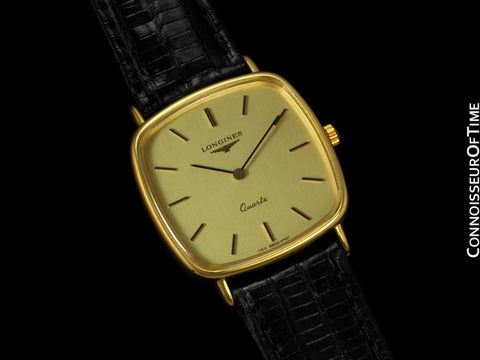 Longines Mens Cushion Dress Watch - 18K Gold Plated & Stainless Steel