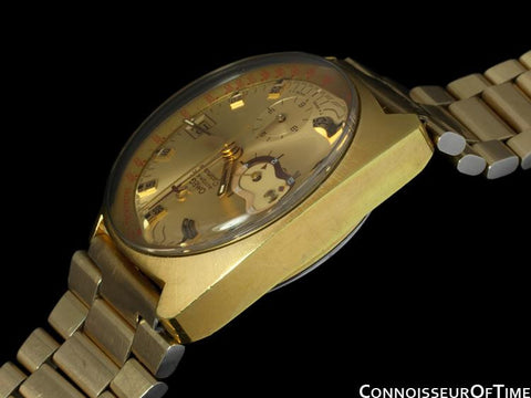 1970's Omega Vintage Mens Seamaster Chronograph - 14K Gold Plated & Stainless Steel