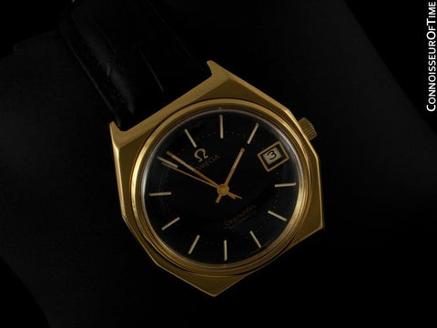 c. 1978 Omega Vintage Seamaster Mens Watch, Automatic, Date - 18K Gold Plated & Stainless Steel
