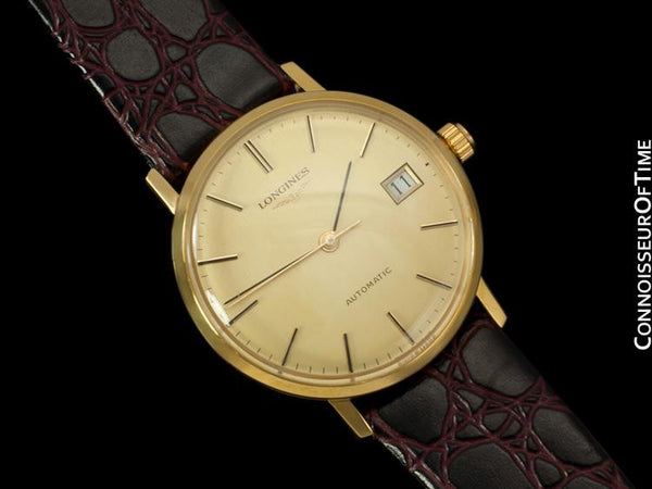 Longines Mens Automatic Watch with Quick-Setting Date - 18K Gold Plated & Stainless Steel SS