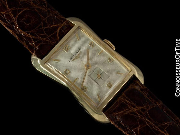 1956 Longines Vintage Mens Dress Watch, 10K Gold Filled - Hourlgass Shape