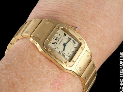 Cartier Ladies Santos Galbee Quartz Bracelet Watch - 18K Gold