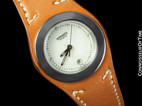 Hermes Harnais Ladies Watch - Stainless Steel & Hermes Leather