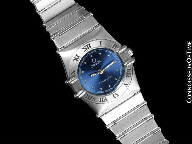 ... Omega Ladies Constellation Mini 22mm Royal Blue Dial Watch - Stainless  Steel e2985bae23fe
