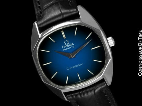 1977 Omega Constellation Mens Midsize Quartz Watch, Quick-Setting Hour - Stainless Steel
