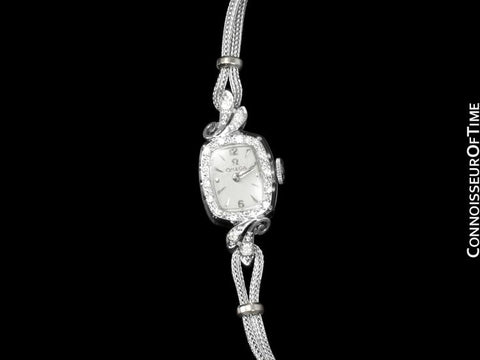 1961 Omega Vintage Ladies Watch - 14K White Gold & Diamonds
